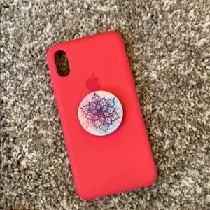 Apple silicone case for iPhone X or xs + popsock